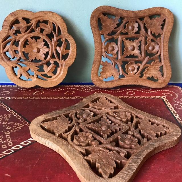 Brown Hand-Carved Trivets - Set of 3 For Sale - Image 8 of 10