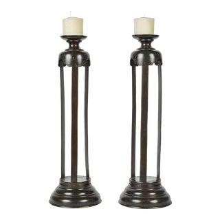 1860's Japanese Edo Bronze Candlesticks - a Pair For Sale