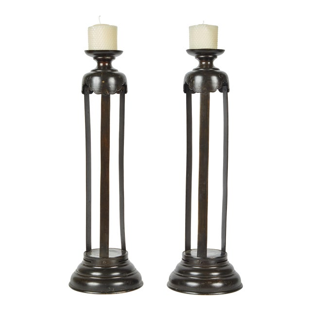 1860's Japanese Edo Bronze Candlesticks - a Pair For Sale