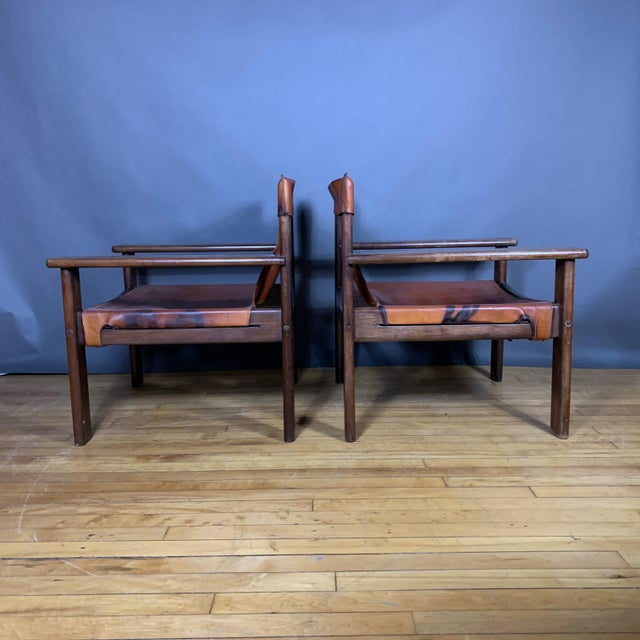 Mid-Century Modern Pair 1970s Saddle Leather Arm Chairs, Mobring Style For Sale - Image 3 of 13