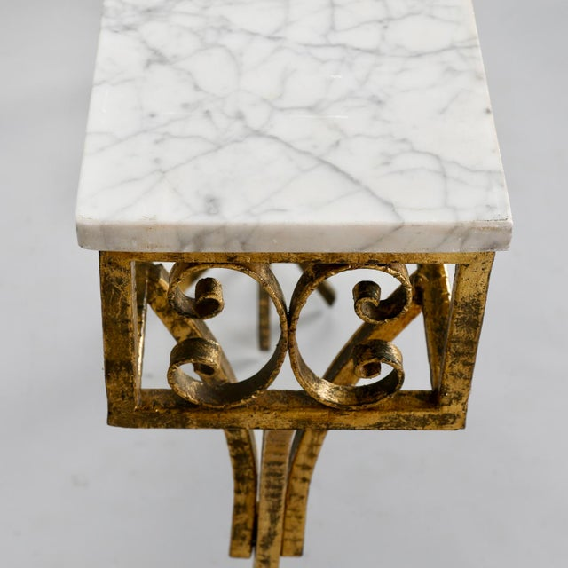 Gold French Gilt Iron Wall Hung Console with Marble Top For Sale - Image 8 of 11