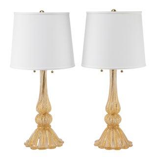 """Pair of Barovier & Toso """"Cordonato D'Oro"""" Murano Table Lamps, Circa 1950s"""
