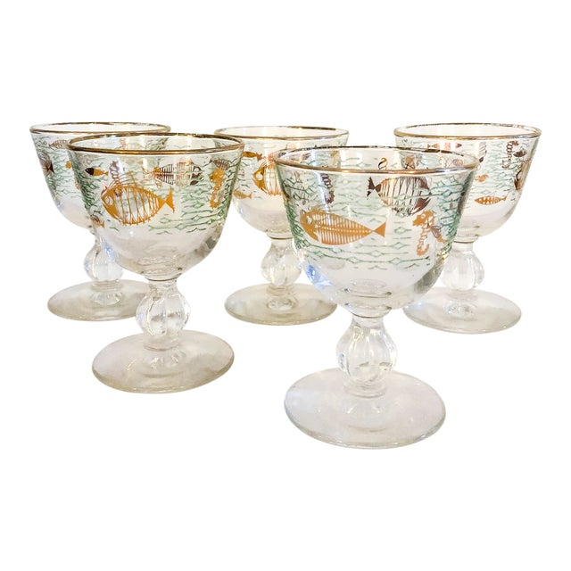 Midcentury Modern Cocktail Glasses With Ocean & Sea Life Design - Set of 5 For Sale