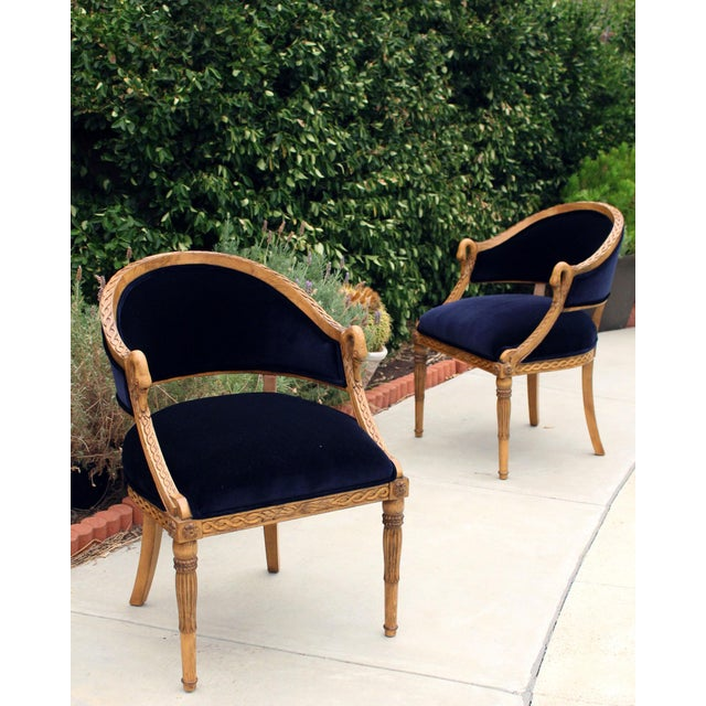 Meyer Gunther Martini French Empire Chairs Rope & Swan Details Newly Upholstered - Pair For Sale - Image 9 of 9