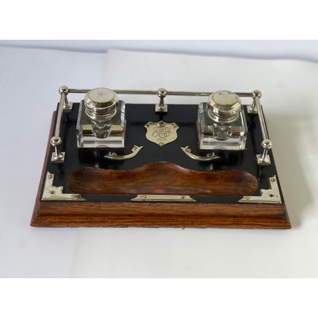 English Antique English Double Inkwell Desk Set For Sale - Image 3 of 12