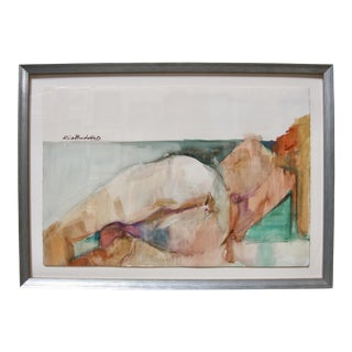 Contemporary Reclining Nude Female Watercolor Signed Painting by Rich Buchwald For Sale