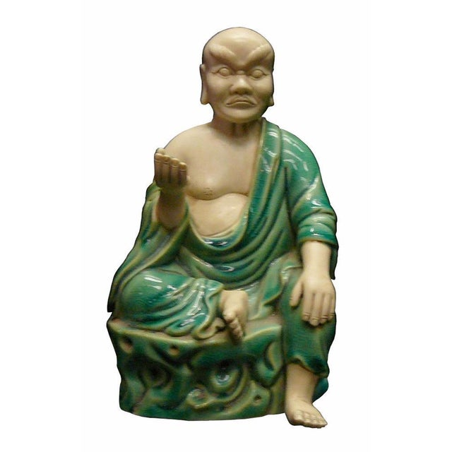 Chinese Handmade Green Ceramic Lo Hon Holding a Bead Seating Statue For Sale In San Francisco - Image 6 of 6