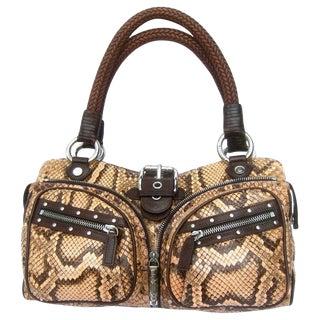 Versace Snakeskin Leather Trim Italian Handbag Circa 1990s For Sale