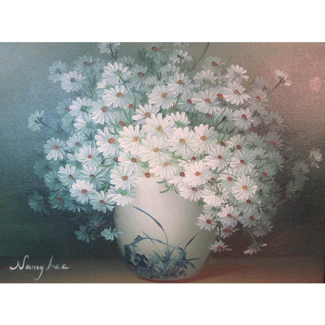 "1960s Original ""Daisies"" Oil on Canvas Painting Signed by Nancy Lee For Sale - Image 5 of 8"