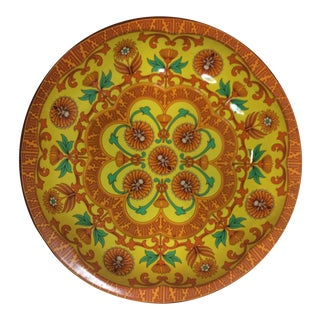 Vintage Orange and Yellow Floral Daher English Tin Tray For Sale