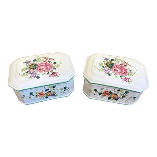 1960s Floral Painted Italian Porcelain Boxes - a Pair For Sale