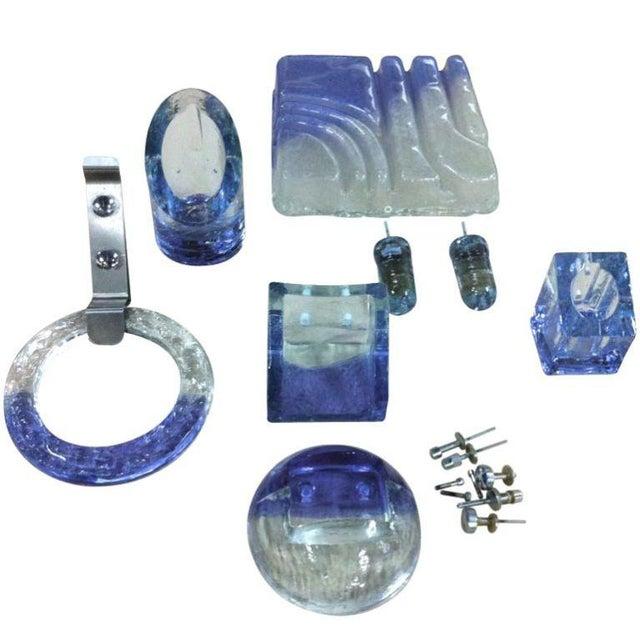 Mid-Century Modern Complete Set of Rare Vistosi Glass Bathroom Fixtures For Sale - Image 3 of 3