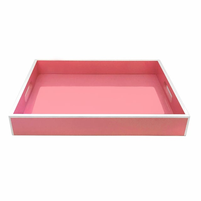 Pink Lacquer Serving Tray - Image 1 of 2
