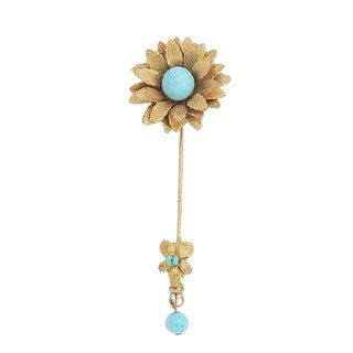 1960s Miriam Haskell Faux-Turquoise Beaded Flower Jabot Pin For Sale