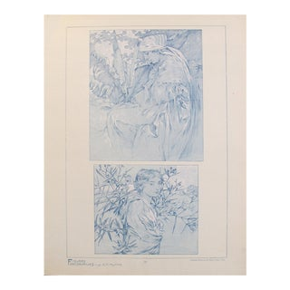 1902 Original Vintage French Art Nouveau Illustration - Figures Decoratives - A. Mucha For Sale