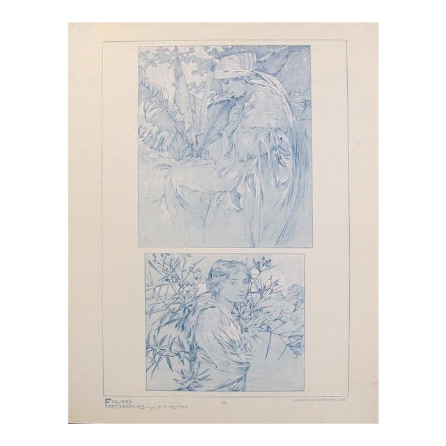 1902 Original Vintage French Art Nouveau Illustration - Figures Decoratives - A. Mucha For Sale