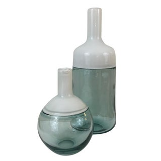 Modern White Top Glass Bottles - a Pair For Sale
