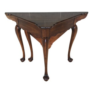 Chippendale Style Statton Oxford Finish Cherrywood Ball & Claw Drop Leaf Napkin Table For Sale