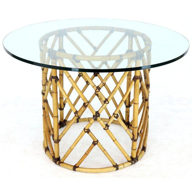 McGuire 7 Pieces Bamboo Dining Set Round Glass Top Table Two Arm Chairs Leather For Sale - Image 10 of 13