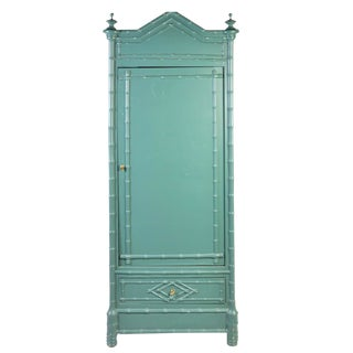 1960s Chinoiserie Style Green Faux Bamboo Cabinet For Sale