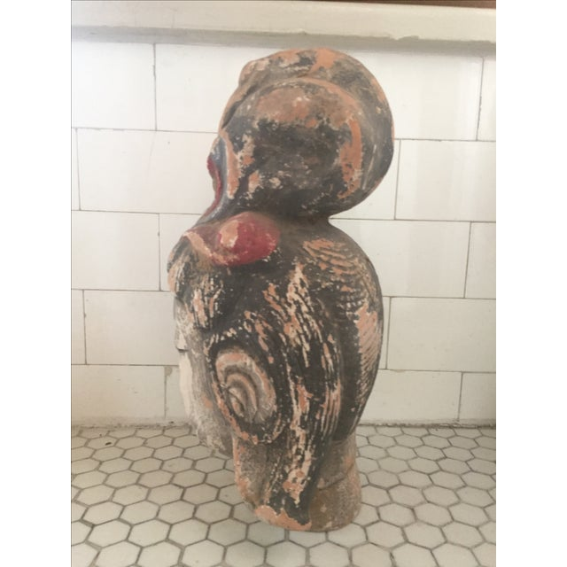 Quan Yin Terracotta Hand Painted Head For Sale - Image 5 of 10
