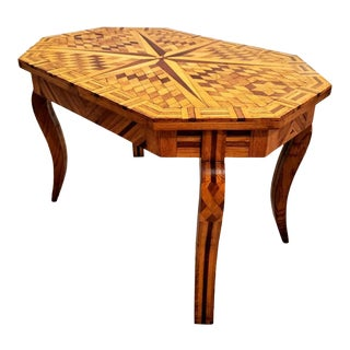 Scarce Antique Specimen Star Burst Marquetry Table For Sale