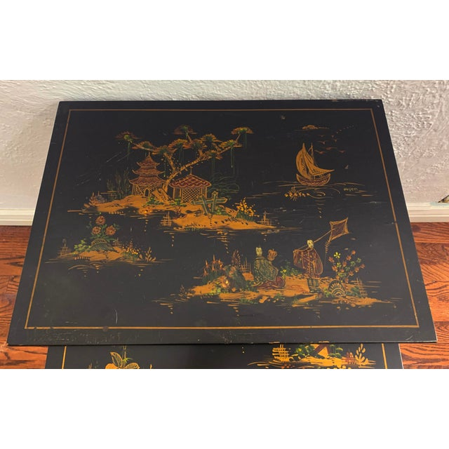 Metal 1940s Japanese Black Lacquer Nesting Table With Hand Painting - Set of 3 For Sale - Image 7 of 13