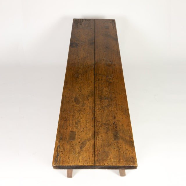 Late 19th Century Rustic Elm Work Bench With Square Iron Pegs, English Circa 1880. For Sale - Image 5 of 13