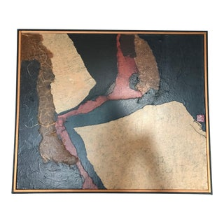 Vintage Mid Century Abstract Mixed Media Collage