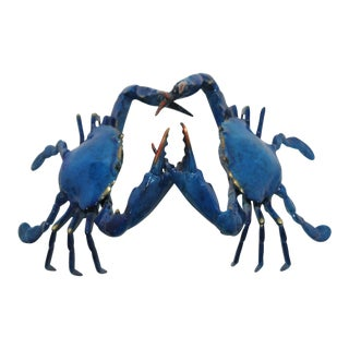 Enamel & Gold on Bronze Life-Size Alpha Male Blue Crab Confrontation Sculpture by J Townsend For Sale