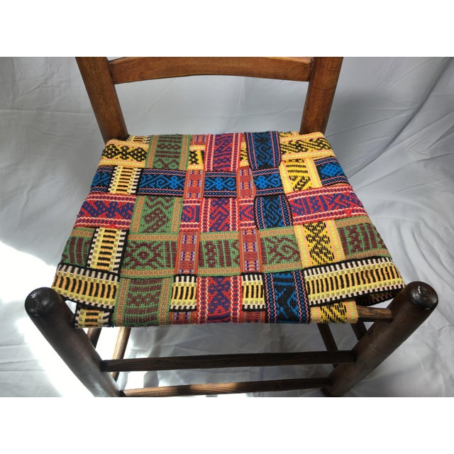 1950s 1950s Vintage Wood and Multicolor Woven Chair For Sale - Image 5 of 6