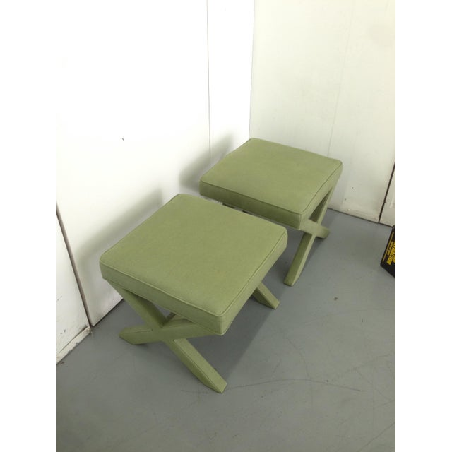 Jonathan Adler X-Bench Green Ottomans - a Pair - Image 2 of 3
