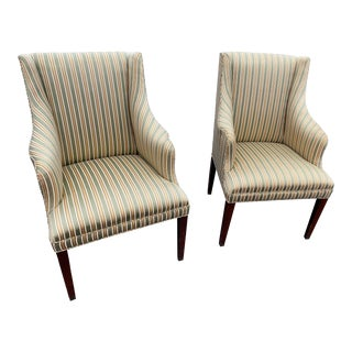 Mid-Century Upholstered Wingback Arm Chairs- A Pair For Sale