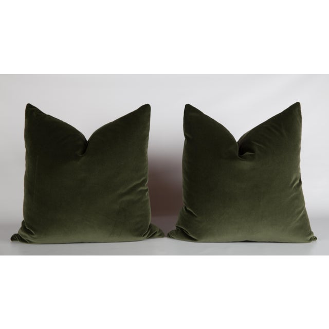 Moss Velvet Greek Key Pillows - a Pair - Image 5 of 5