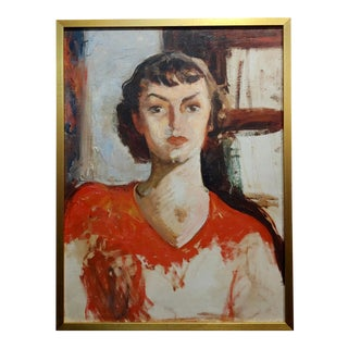 Antonia Greene -1930s Portrait of a Woman in Red -Oil Painting For Sale
