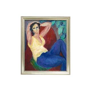 1950s French Painting of a Woman For Sale