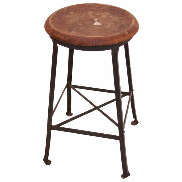 1940s Industrial Stool with Oak Seat - Image 1 of 3