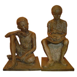 1930s French Antique Lifesize Children Sculptures in Bronze Finish - Set of 2 For Sale