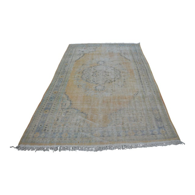 "Faded Bohemian Turkish Area Carpet - 69"" x 110"" For Sale"