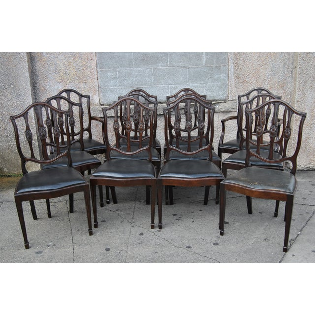 Mahogany English Hepplewhite Style Chairs- Set of 12 For Sale - Image 13 of 13
