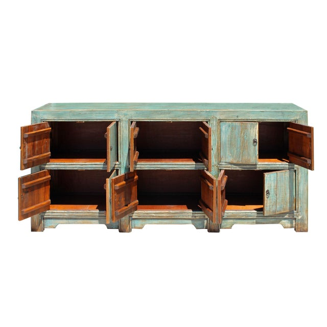 Distressed Rustic Chalk Pastel Blue Sideboard Buffet Table Cabinet For Sale - Image 4 of 8