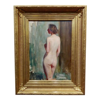 Emil Fuchs 1915 American Impressionist Portrait of a Nude Female Back -Oil Painting For Sale