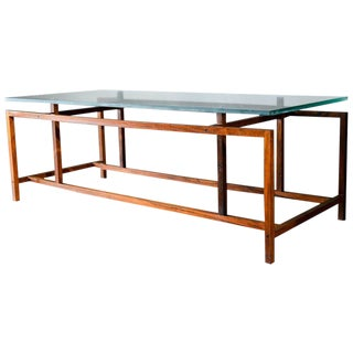 1965 Scandinavian Modern Henning Norgaard Rosewood and Glass Coffee Table For Sale