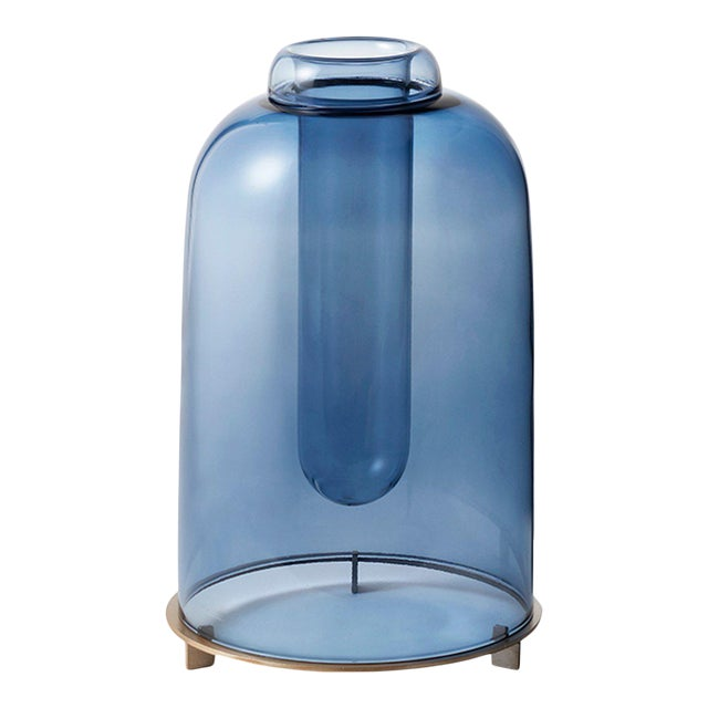 Blue Blown Glass Vase the Short by Paola C for Design Italy For Sale