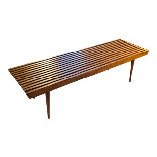 Versatile Mid-Century Modern Walnut Slat Bench and Coffee Table For Sale
