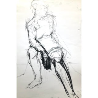"""Seated Shifting Figure"", by Artist David O. Smith - Scale Contemporary Figure Drawing in Charcoal For Sale"