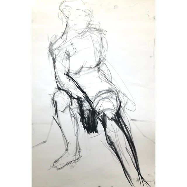 """""""Seated Shifting Figure"""", by Artist David O. Smith - Scale Contemporary Figure Drawing in Charcoal For Sale"""