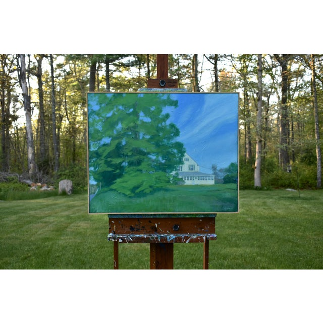 """Titled """"The House Behind the Tree by the Road"""". An early spring morning scene here in Massachusetts. Painted in 2018, this..."""