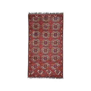 "Vintage Central Asian Rug With Animal ""Gul"" Design- 3'9"" x 6'9"" For Sale"