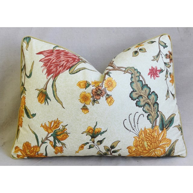 """Early 21st Century Schumacher Arbre Fleuri Floral & Ticking Feather/Down Pillows 22"""" X 16"""" - Pair For Sale - Image 5 of 13"""